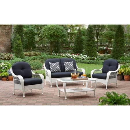 White All Weather Wicker 4 Piece Patio Conversation Set Perfect Modern Cushioned Chairs And