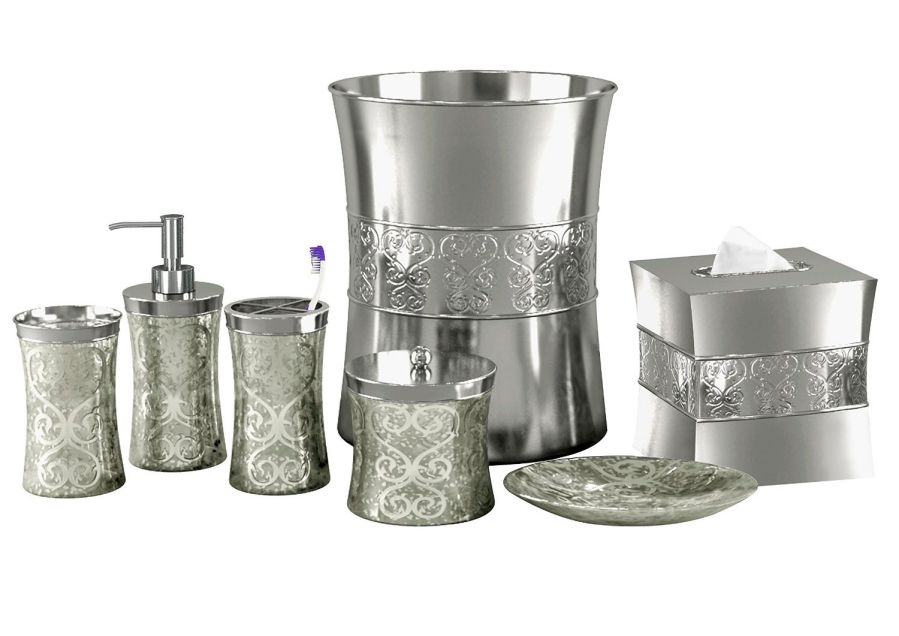 nu steel 7-Piece Mercury Glass Bathroom Accessory Set, Patchwork, Mercury/Shiny