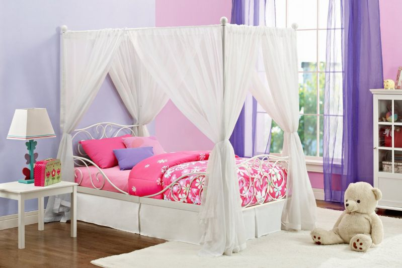DHP Canopy Metal Bed- Twin, White