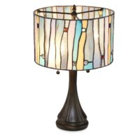 Serena D'italia Tiffany Style Table Lamps Contemporary, Mosaic Stained Glass Lamp, Antique, Victorian, Vintage Styling, Double Pull Chain (Blue, White, Yellow)