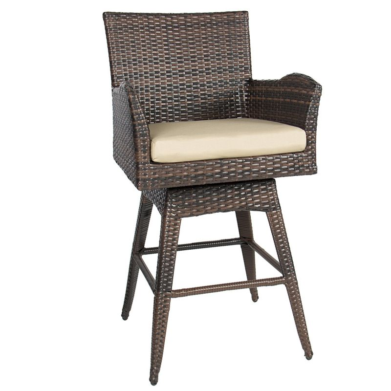 Best Choice Products Outdoor Patio Furniture All-Weather Brown Wicker Swivel Bar Stool with Cushion