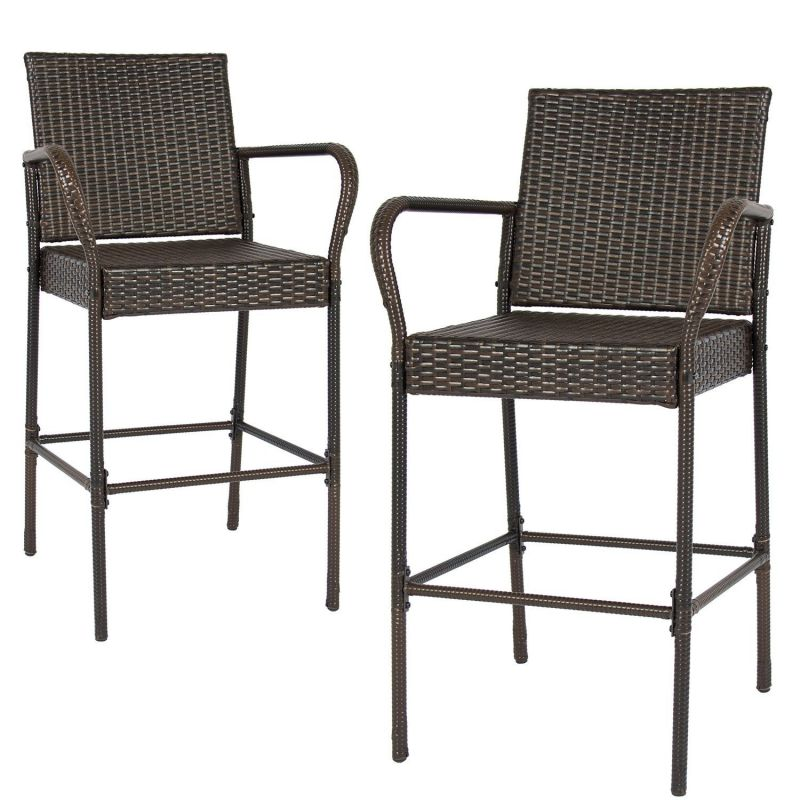Tangkula Set of 2 Patio Outdoor Wicker Barstool Pool Furniture Brown