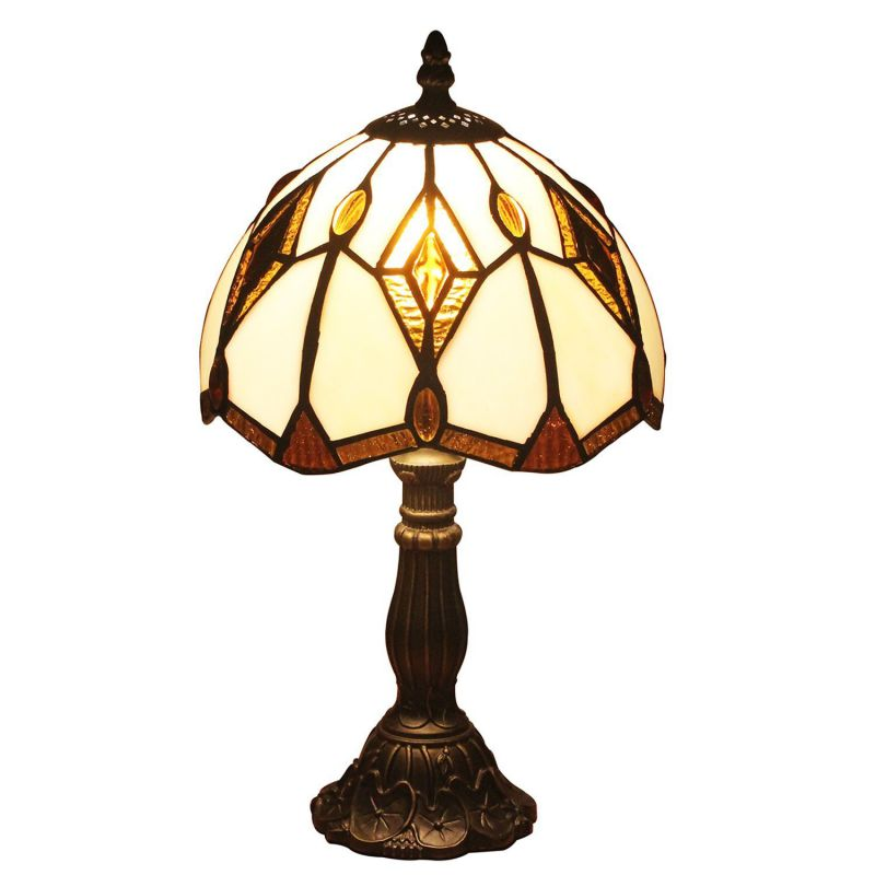 U-Taste Tiffany Style Lamp with 8-Inch Amber Shade 15-inch Height