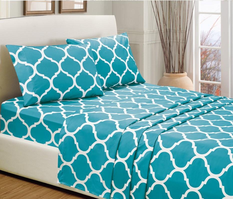 4-Piece KING size, TURQUOISE BLUE Quatrefoil Print Bed Sheet Set