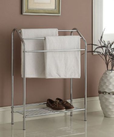 Chrome Finish Towel Rack Stand Shelf for Bathroom