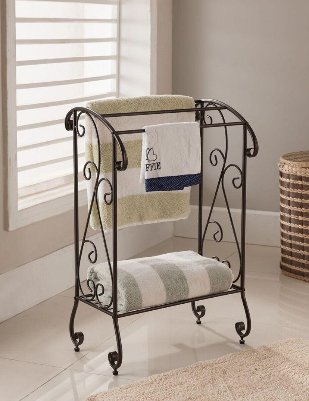Kings Brand - Coffee Brown Metal Free-Standing Bathroom Towel Rack Stand with Shelf
