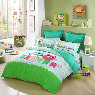 LOVO KID'S Best Friends Owl 4-Piece Bedding Set
