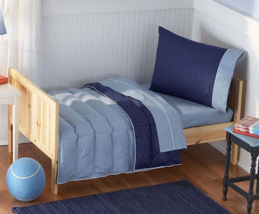 Pem America Blue Crispy Cotton Toddler Bedding 4 Pc Set