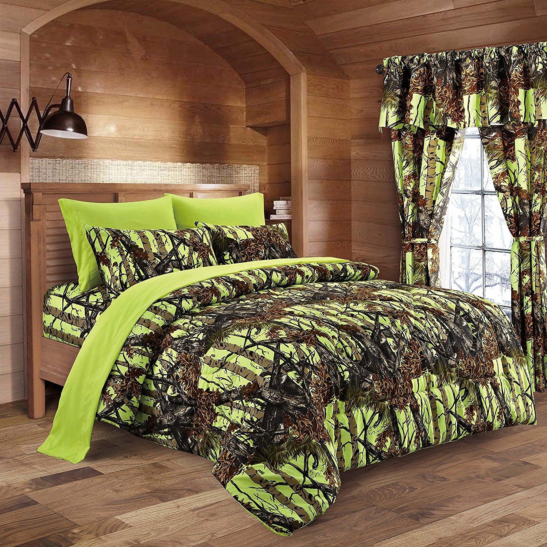 20 Lakes Neon Green Lime Camo Comforter, Sheet, & Pillowcase Set (King, Neon Green)