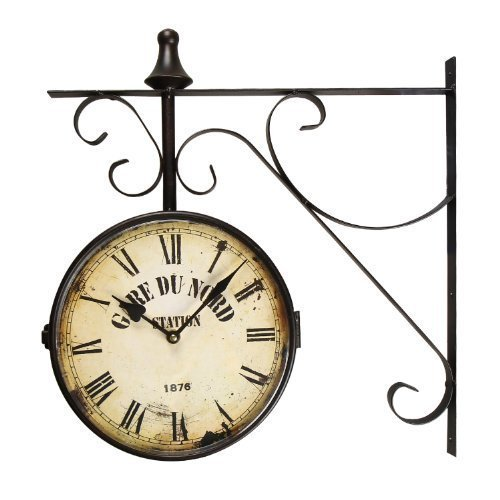 """Adeco Black Iron Vintage-Inspired Round """"Gard Du Nord Station"""" Double-Sided Wall Hanging Clock with Scroll Mount Home Decor"""