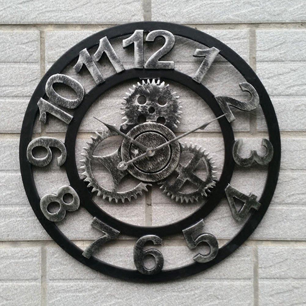 Aero Snail Handmade Art 3D Retro Rustic Country Wooden Vintage Silent Gear Wall Clock