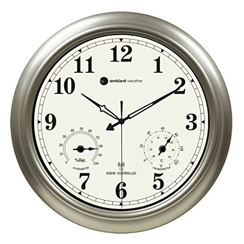 """Ambient Weather RC-1800WSTH 18"""" Indoor / Outdoor Radio Controlled Wall Clock with Temperature & Humidity"""