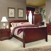 Coaster Coaster Louis Philippe King Size Sleigh Panel Bed in Cherry