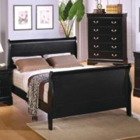 Coaster Full Size Sleigh Bed Louis Philippe Style in Black Finish