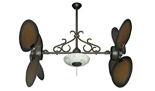 "Dan's Fan City Twin Star II Double Ceiling Fan in Oil Rubbed Bronze with 50"" Large Oval Blades in Distressed Walnut & Light with Remote"