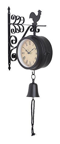 Deco 79 35412 Metal Outdoor Double Clock, 10 by 22-Inch