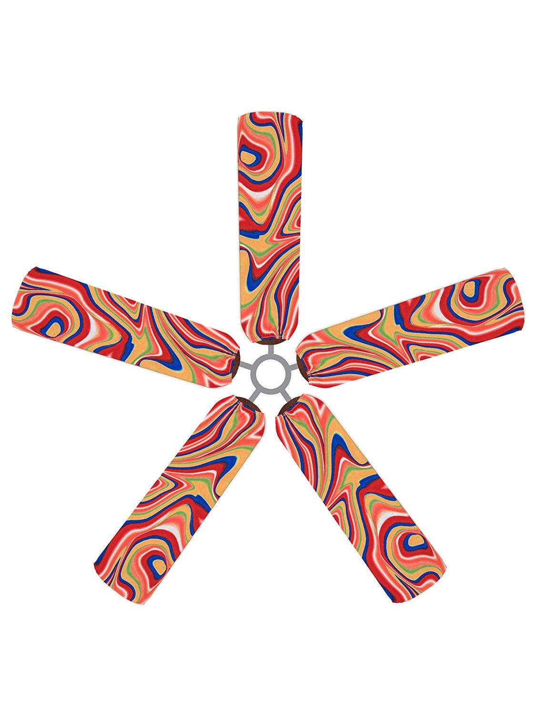 Fan Blade Designs DZ-1DGL-HUSZ Ceiling Fan Blade Covers, Swirling Rainbow