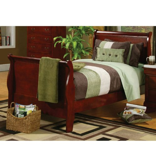Full Size Sleigh Bed Louis Philippe Style in Cherry Finish