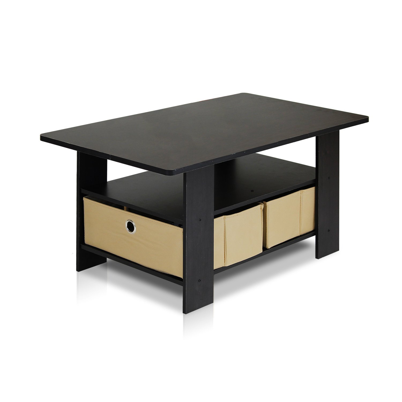 Furinno 11158EX/BR Coffee Table with Bins, Espresso/Brown