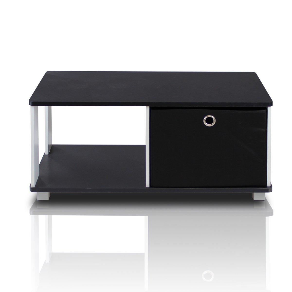 Furinno 99954BK/BK Coffee Table with Bin Drawer, Black & White