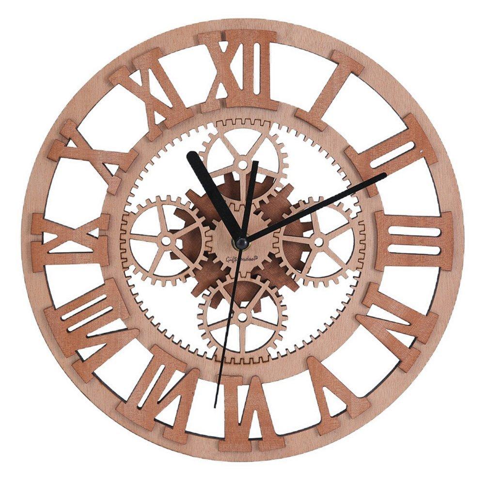 Giftgarden Gear Wall Clock Round Shaped Wooden handmade for Housewarming Wall Decorative Clocks