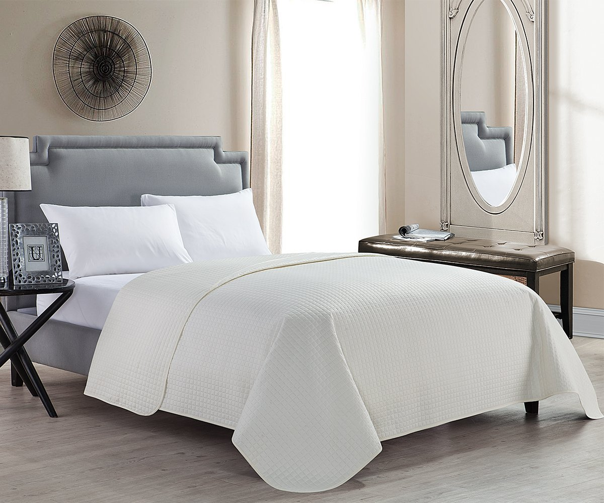HollyHOME Luxury Checkered Super Soft Solid Single Pinsonic Quilted Bed Quilt Bedspread Bed Cover, Ivory, King