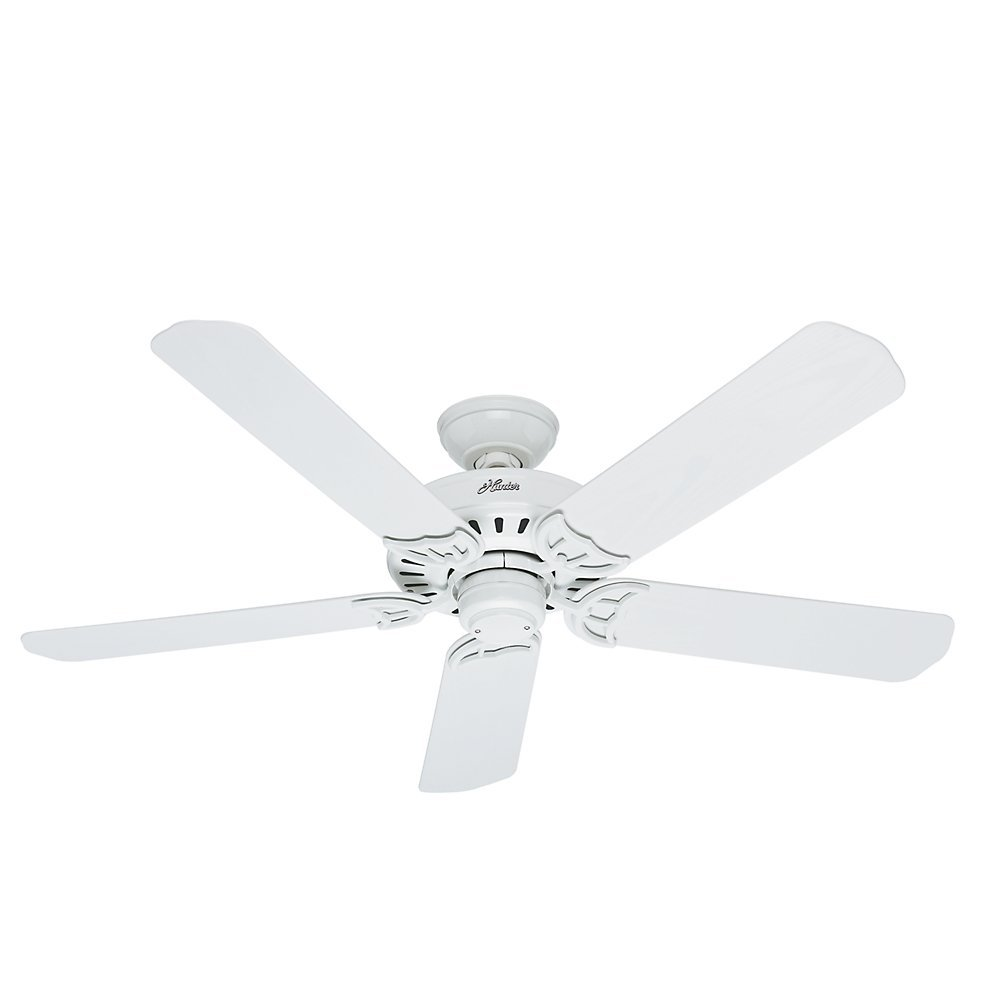 Hunter Fan Company 53125 Bridgeport 52-Inch ETL Damp Listed Ceiling Fan with Five White Plastic Blades, White