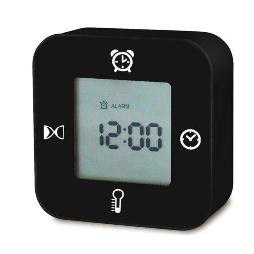 IYOOVI Digital Morning Alarm Clock With Calendar/Timer/Alarm/Temperature Display In 4 Angle, Battery Operated Travel Desk Bedroom Clock, Simple Setting (Black)
