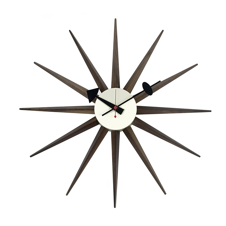 LCH Walnut Wood Sunburst Clock, Handmade Antique Retro Classic Mid-Century Modern Wall Clock, Designed by George Nelson