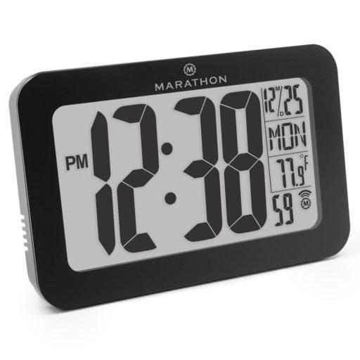MARATHON CL030033BK Atomic Self-setting Self-adjusting Wall Clock w/ Stand & 8 timezones - Batteries Included (Black)