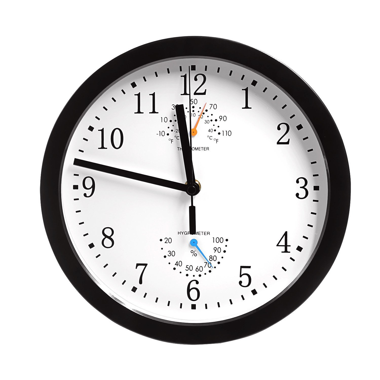 Magho Non-ticking Silent Indoor/Outdoor Wall Clock with Thermometer and Hygrometer for Kitchen/Living Room/Bathroom/Garage etc., Battery Operated, Black Color(Plastic, 10')
