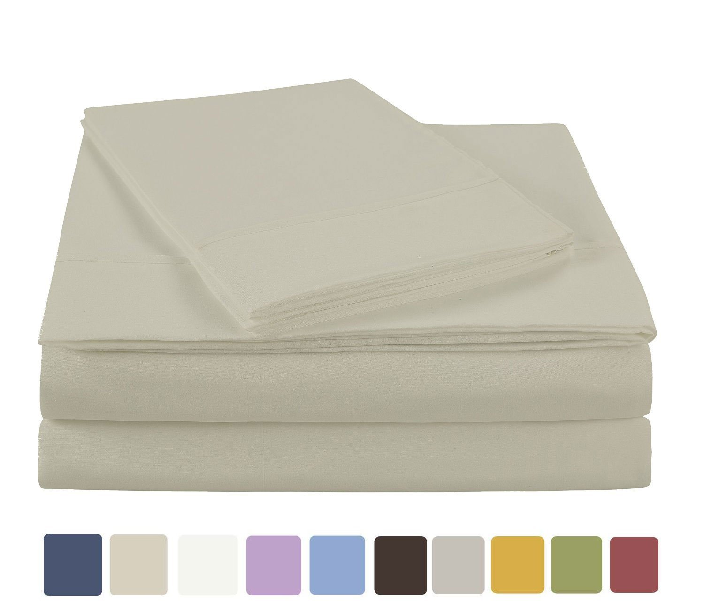 NC Home Fashions EHF ultra soft microfiber solid sheet set, Twin XL, Bone White