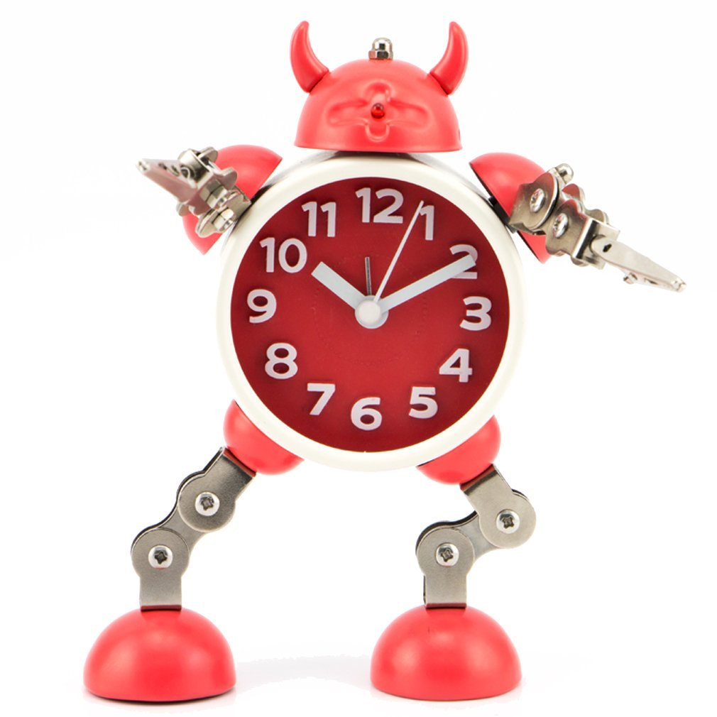 PiLife Silent Non-ticking Metal Robot Alarm Clock, Flashing Lights ,Free to Make Poses, with Card or Note Holder(Small Red)