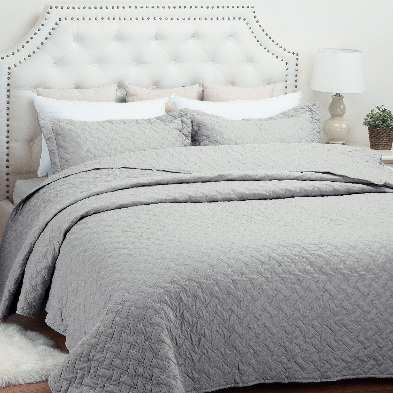 "Quilt Set Solid Grey King(106""x96"") Basketweave Pattern Lightweight Hypoallergenic Microfiber ""Simone"" by Bedsure"