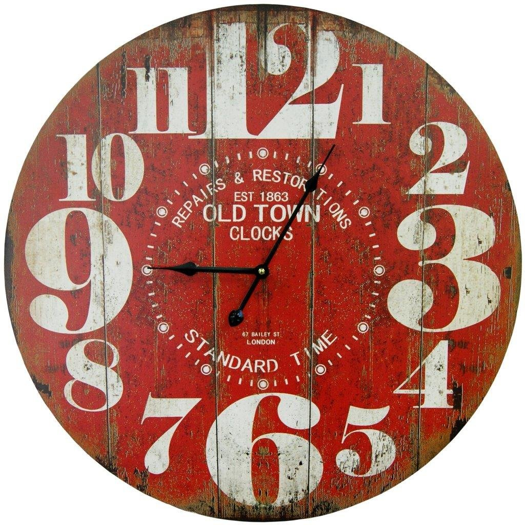 Round Red Decorative Wall Clock With Big Numbers And Distressed Old Town face 23 x 23 inches Quartz movement