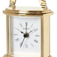 Seiko Desk and Table Alarm Carriage Clock Gold-Tone Metal Case