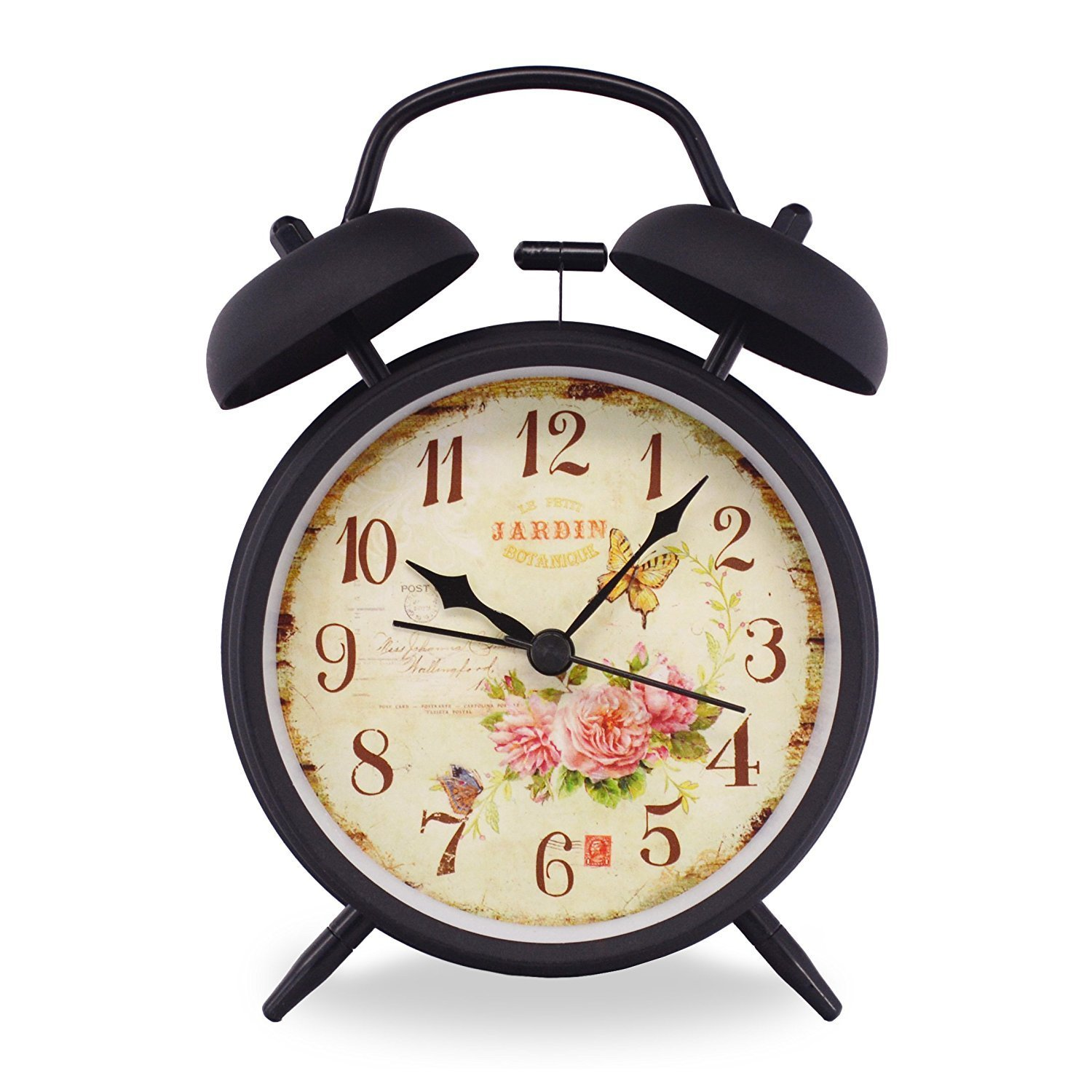 """Slash 4"""" Vintage Retro Old Fashioned Quiet Non-ticking Sweep Second Hand, Quartz Analog Twin Bell Clock, Battery Operated, Loud Alarm, Nightlight Function (Black Case - Roses)"""