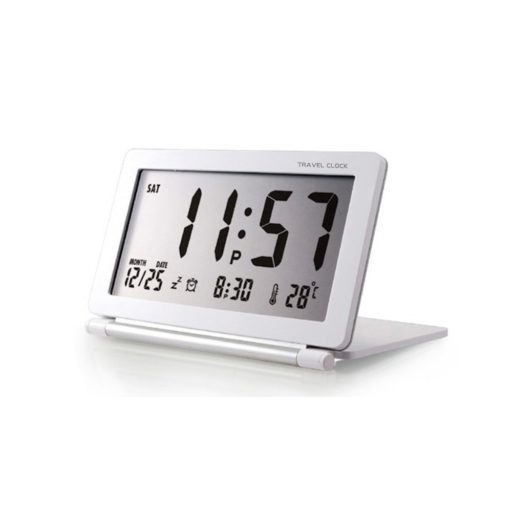 Travel Alarm Clock, Samshow Office Desk Clock Foldable, Portable, with Date/Week/Temperature, Snooze(White Silver,Battery Included)