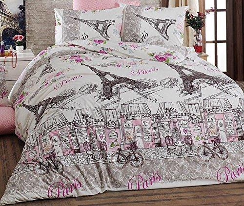 100% Turkish Cotton 4 Pcs!! Ranforce Paris Eiffel Tower Theme Themed Full Double Queen Size Quilt Duvet Cover Set Bedding Made in Turkey