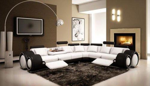 4087 Black & White Top Grain Italian Leather Living Room Sectional Sofa