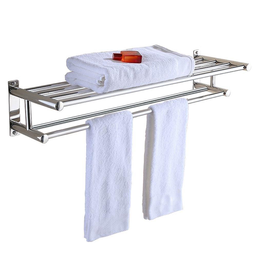 Aluminum Double Towel Bar 24 Inch Wih 5 Hooks Bathroom Shelves Holders Bath