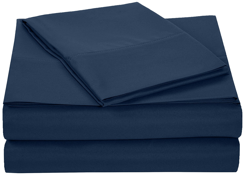 AmazonBasics Microfiber Sheet Set - Twin Extra-Long, Navy Blue
