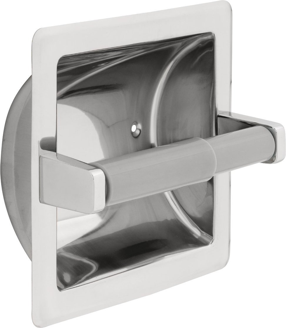 Delta Faucet 45070-ST Stainless Steel Recessed Paper Holder with Plastic Roller