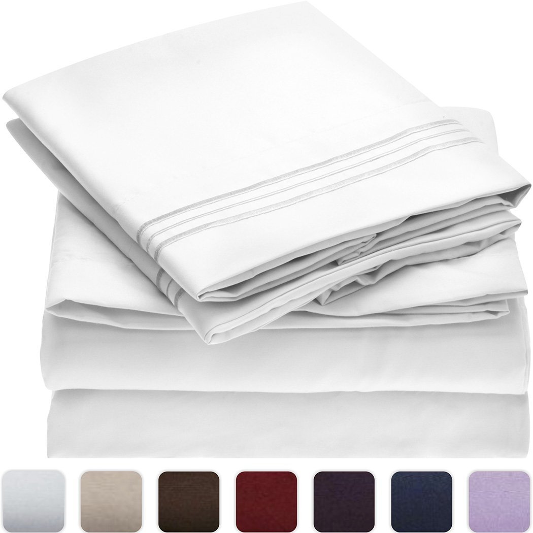 Mellanni Bed Sheet Set - HIGHEST QUALITY Brushed Microfiber 1800 Bedding - Wrinkle, Fade, Stain Resistant - Hypoallergenic - 3 Piece (Twin XL, White)