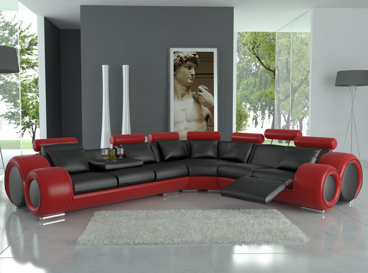 Modern Franco Leather Sectional Sofa - Black / Red