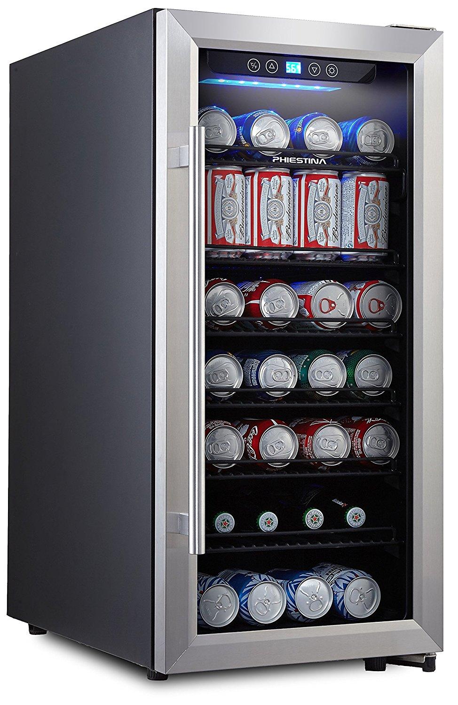 Phiestina PH-CBR100 106 Can Beverage Cooler Stainless Steel Door with Handle