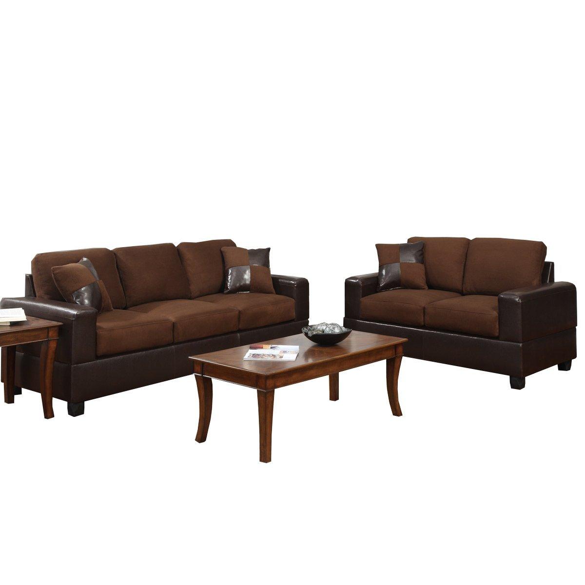 Bobkona Seattle Microfiber Sofa and Loveseat 2-Piece Set in Chocolate Color