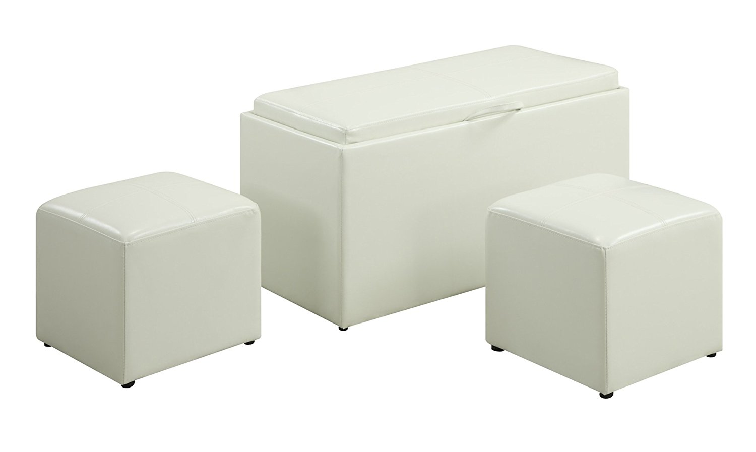 Convenience Concepts Designs4Comfort Sheridan Faux Leather Storage Bench with 2 Side Ottomans, White