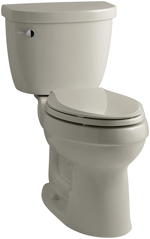 KOHLER K-3609-G9 Cimarron Comfort Height Elongated 1.28 gpf Toilet with AquaPiston Technology, Less Seat, Sandbar
