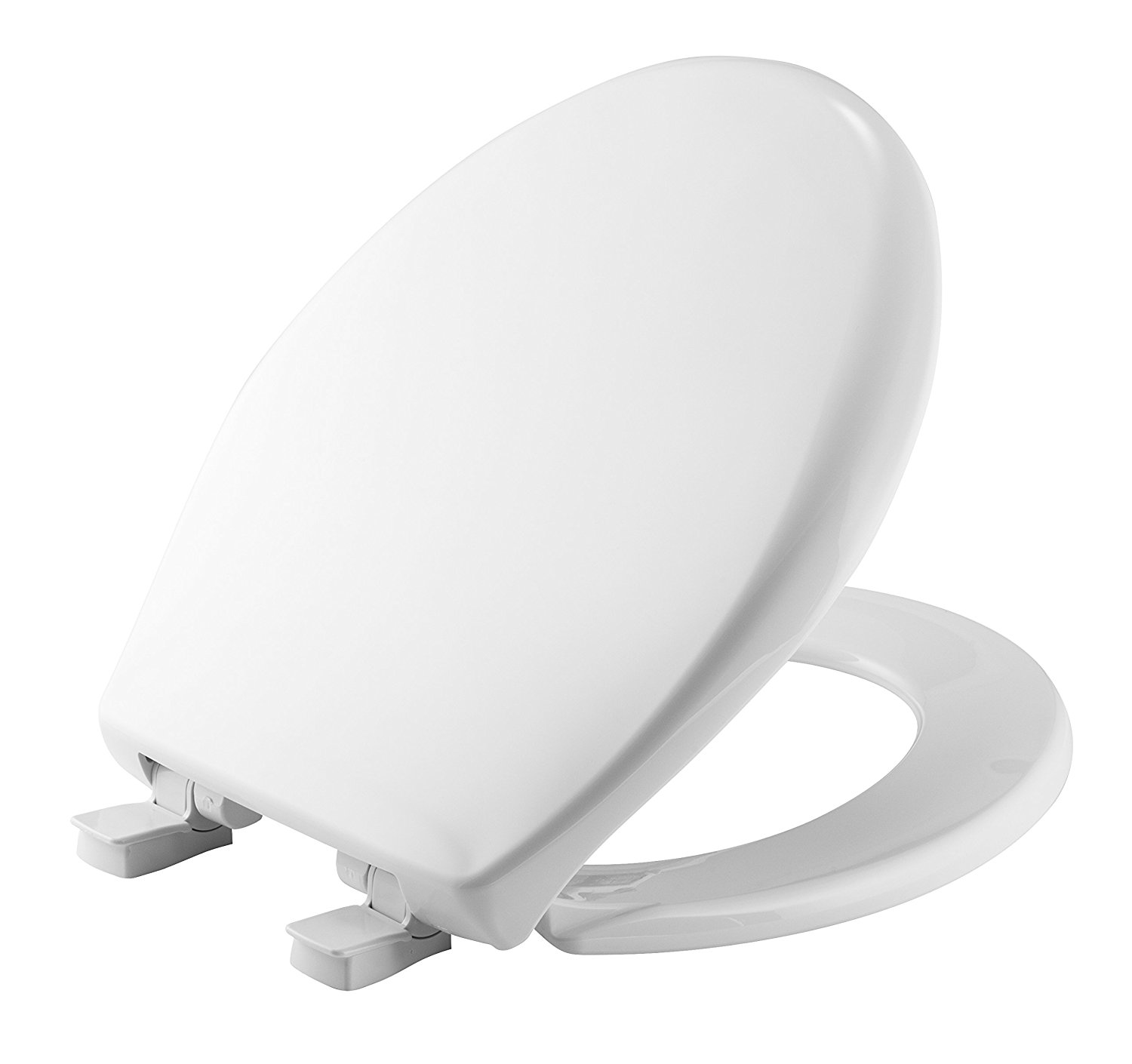 Mayfair 20SLOWE 000 Slow-Close Plastic Toilet Seat featuring Whisper-Close, Easy Clean & Change Hinges and STA-TITE Seat Fastening System, Round, White